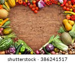 heart shaped food. food... | Shutterstock . vector #386241517