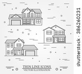 set of vector thin line icon ... | Shutterstock .eps vector #386260231