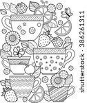 hand draw vector coloring book... | Shutterstock .eps vector #386261311