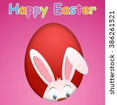 Happy Easter Card With Egg And...