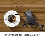 vector coffee cup  smart phone  ... | Shutterstock .eps vector #386261794