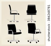 black leather office chair... | Shutterstock .eps vector #386268781