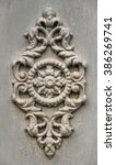grey decorative molding rose on ... | Shutterstock . vector #386269741