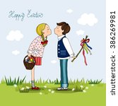 girl with a basket full of eggs ... | Shutterstock .eps vector #386269981