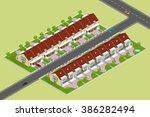 isometric modern townhouses....   Shutterstock .eps vector #386282494