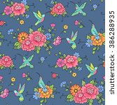 seamless pattern. hummingbirds... | Shutterstock .eps vector #386288935