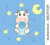 cartoon cute boy cow baby in... | Shutterstock .eps vector #386297269