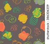 seamless colorful fruits pattern | Shutterstock .eps vector #386306359