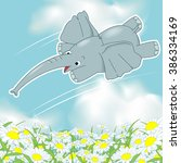 the flying elephant  a wild...   Shutterstock .eps vector #386334169