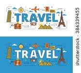 travel lettering flat line... | Shutterstock .eps vector #386339455