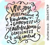 fruit of the spirit bible verse.... | Shutterstock . vector #386349769
