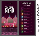 flat style cocktail menu design ... | Shutterstock .eps vector #386361619