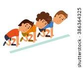 start run. group ready to start.... | Shutterstock .eps vector #386364325