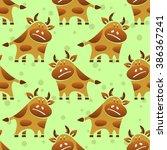 cartoon bull on a green... | Shutterstock . vector #386367241