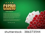 poker table cards and chips... | Shutterstock .eps vector #386373544
