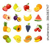 set of colorful cartoon fruit... | Shutterstock .eps vector #386383747
