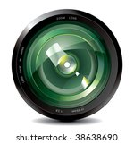 professional photo lens - stock vector