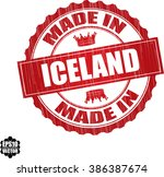 made in iceland red grunge... | Shutterstock .eps vector #386387674