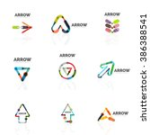 set of linear arrow abstract... | Shutterstock . vector #386388541