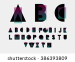 black alphabetic fonts and... | Shutterstock .eps vector #386393809