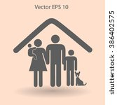 family with a pet vector... | Shutterstock .eps vector #386402575