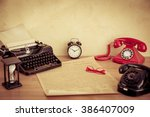 vintage working place | Shutterstock . vector #386407009
