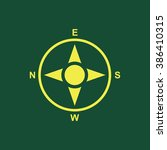 yellow icon of compass isolated ...