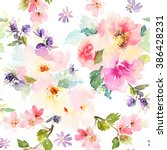 seamless pattern with flowers... | Shutterstock . vector #386428231