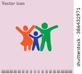 happy family icon in simple... | Shutterstock .eps vector #386432971