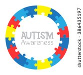 Stock vector world autism awareness day colorful puzzles vector circle background symbol of autism medical 386435197