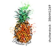 bright color pineapple. vector... | Shutterstock .eps vector #386441269