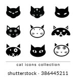 cartoon cat set illustration ... | Shutterstock .eps vector #386445211