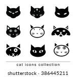 cartoon cat set illustration ... | Shutterstock .eps vector #386445211