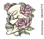 Human Skull With Roses Drawn I...