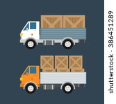 delivery trucks with wooden... | Shutterstock .eps vector #386451289