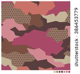 geometric camouflage seamless... | Shutterstock .eps vector #386453779