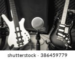 selective focus microphone and... | Shutterstock . vector #386459779