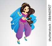 Vector illustration of beautiful Arabian princess in traditional purple dress dancing