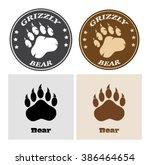Bear Paw Print Circle Logo...