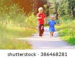 little boy and toddler girl... | Shutterstock . vector #386468281
