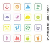 colorful flat summer icon set...