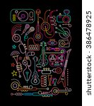 neon colors on a black... | Shutterstock .eps vector #386478925