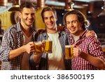 three young men in casual...   Shutterstock . vector #386500195