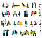 counseling support group flat... | Shutterstock . vector #386501011