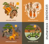 africa concept icons set  | Shutterstock . vector #386504335
