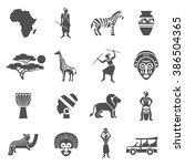 africa black white icons set | Shutterstock . vector #386504365