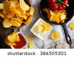 potato chips  fresh paprika and ... | Shutterstock . vector #386505301