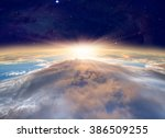 planet earth with a spectacular ... | Shutterstock . vector #386509255