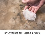 natural crystal salt piles on... | Shutterstock . vector #386517091