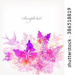 fantasy watercolor vector...   Shutterstock .eps vector #386518819